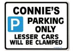 CONNIE'S Personalised Parking Sign Gift | Unique Car Present for Her |  Size Large - Metal faced